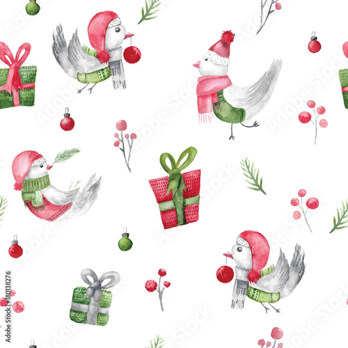 Cotton fabric Watercolor christmas bird pattern with gifts and branches. Rustic fabric design for wrapping. Xmas decoration