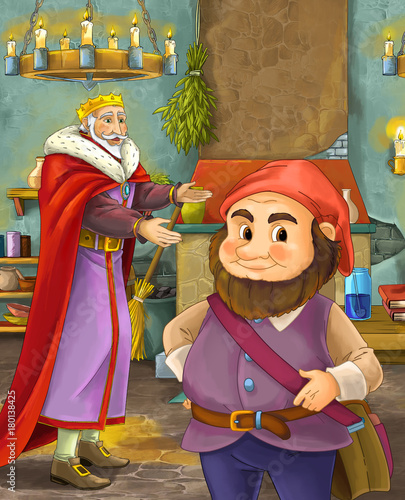 cartoon scene with happy king standing the kitchen and talking with a dwarf illustration for children - 180138425