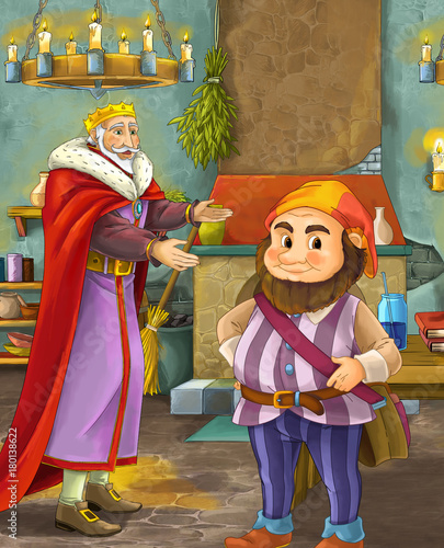 cartoon scene with happy king standing the kitchen and talking with a dwarf illustration for children - 180138622