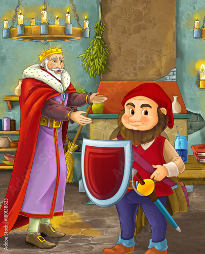cartoon scene with happy king standing the kitchen and talking with a dwarf illustration for children - 180138823