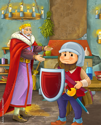 cartoon scene with happy king standing the kitchen and talking with a dwarf illustration for children - 180138897