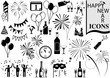 Happy New Year Icon Collection - Black and White Design Elements for Your Project, Vector