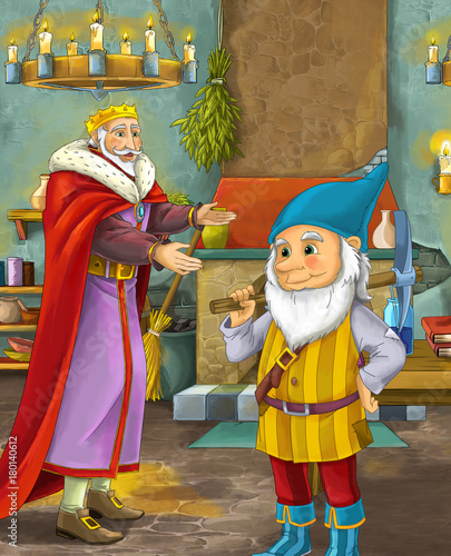 cartoon scene with happy king standing the kitchen and talking with a dwarf illustration for children - 180140612