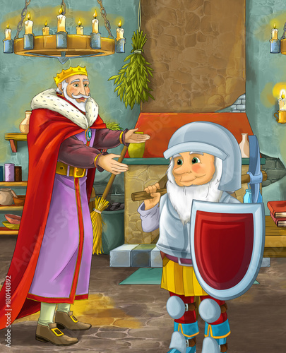 cartoon scene with happy king standing the kitchen and talking with a dwarf illustration for children - 180140892