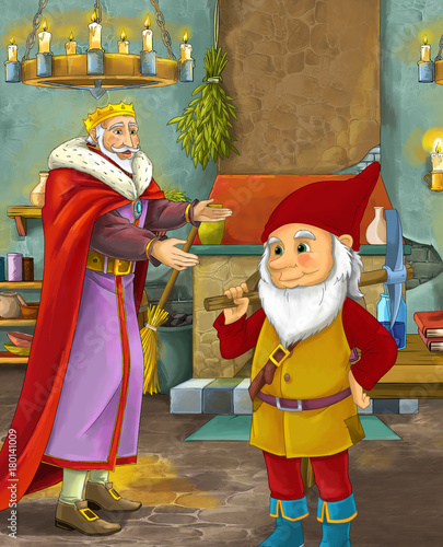 cartoon scene with happy king standing the kitchen and talking with a dwarf illustration for children - 180141009