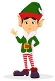 Elf waving hand making hello sign. - 180142818