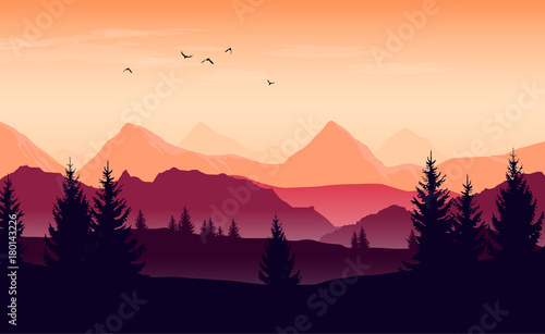 Staande foto Beige Landscape with orange and purple silhouettes of mountains, hills and forest