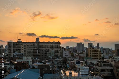 Fotobehang Tokio 東京江東区 夕焼けの都市風景3