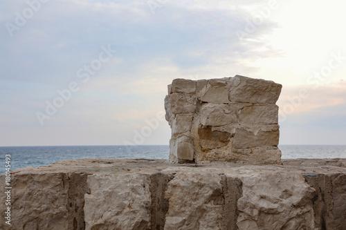 Foto op Plexiglas Cappuccino Mediterranean ea wall at Menton, France.