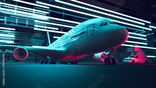 Airport night air transport. 3d rendering and illustration.