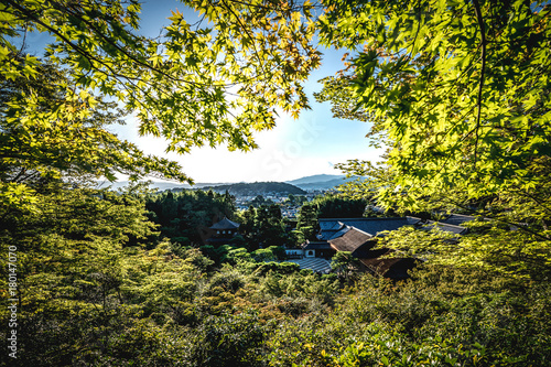 Foto op Plexiglas Kyoto Kyoto City Skyline in Japan with temples an japanese garden visible