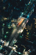 Tokyo streets at night aerial photography