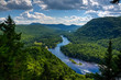 Jacques Cartier river seen from above on a warm summer day, Quebec, Canada