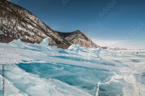 Aluminium Blauwe jeans Байкал, лед, зима, природа, синий лед, горы