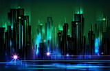 Illuminated night city skyline , vector illustration - 180148676
