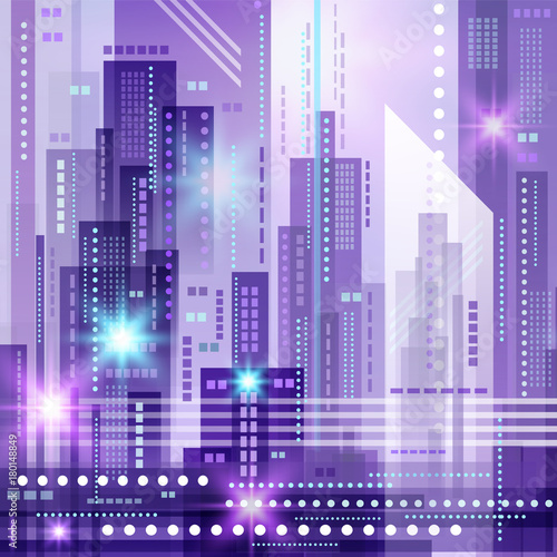 Fotobehang Purper Abstract modern cityscape, vector illustration
