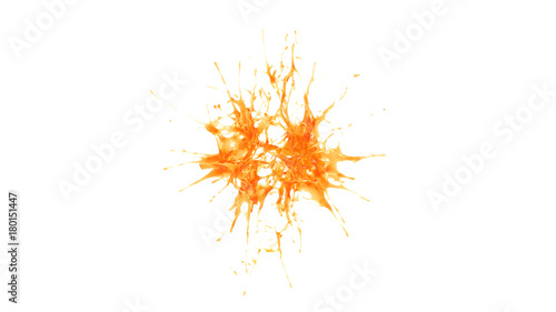 explosion of two drops of orange juice - 180151447