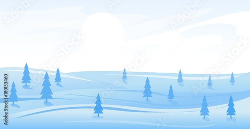 Fotobehang Wit Simple winter landscape
