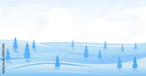 Foto op Canvas Wit Simple winter landscape