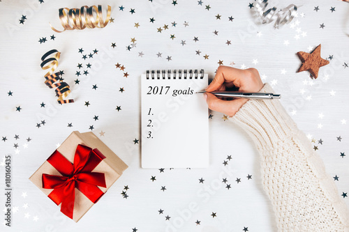 Holiday decorations and notebook with 2017 goals Poster