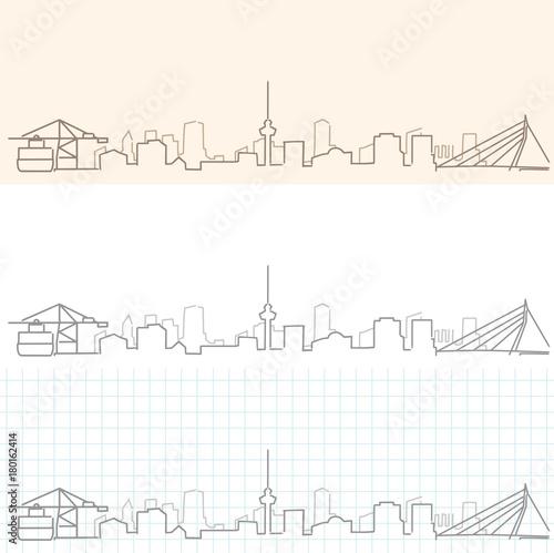 Foto op Plexiglas Rotterdam Rotterdam Hand Drawn Skyline