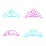Princess crown. Diadem princess. Crown icons. Vector illustration. Flat style.