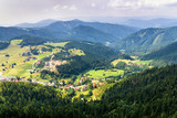 Aerial view of Donovaly village surrounded with mountains, Slovakia