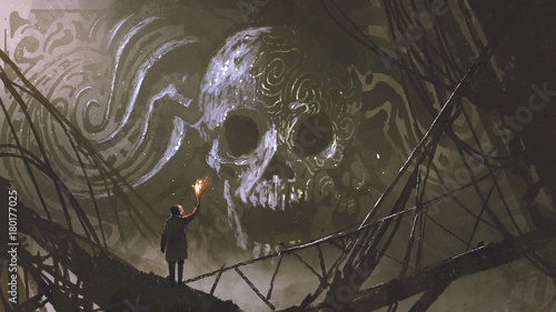 man with a burning torch looking at stone bas relief of the skull, digital art style, illustration painting