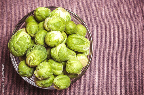Foto op Canvas Brussel Brussels sprouts in a glass plate.