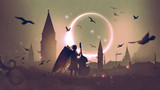 angel playing cello on roof top against night city with beautiful solar eclipse, digital art style, illustration painting - 180177236