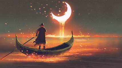 surreal concept of the man rowing a boat in the glowing sea looking at the melting crescent moon, digital art style, illustration painting © grandfailure