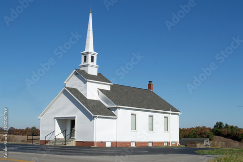 Christian Landscape photo of a white country church in a rural setting