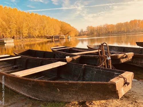 Autumn view with boats.