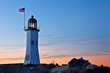 Old Scituate Lighthouse after Sunset, Scituate, Massachusetts, USA. The Lighthouse also known simply as Scituate Light is a historic lighthouse located on Cedar Point in Scituate, Massachusetts.