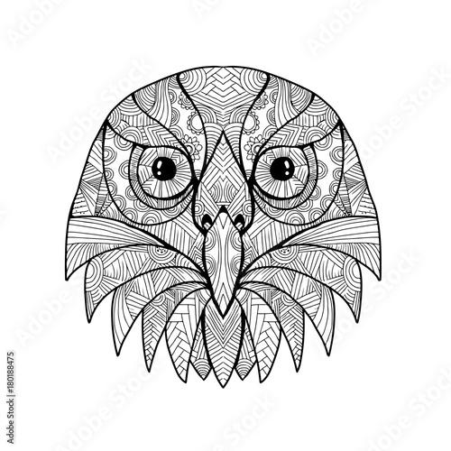 Fotobehang Uilen cartoon Australian Barking Owl Mandala