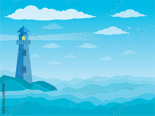 Fotobehang Pool Sea and clouds, bird in the sky, sky, sea, scene, beautiful, background, water, nature, pattern, cloudscape, cartoon, landscape, ocean, vector illustration