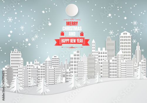 City for Christmas Season with Snowflake and tree. vector illustration paper art style - 180193625