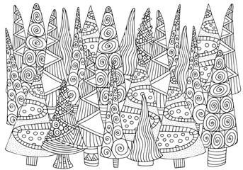 Pattern for coloring book of Christmas trees, hand-drawn decorative elements in vector. A4. Fancy Christmas trees. Black and white pattern. Zentangle