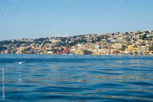 Foto op Plexiglas Napels View from the sea of Posillipo hill, Naples and the blue waters of the Gulf of Naples