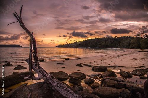 Foto op Canvas Zee zonsondergang Koh Rong in Cambodia