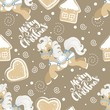 Holiday seamless pattern with Christmas unicorn and festive elements. Vector illustration. - 180201230