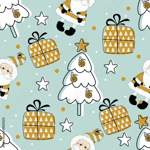 Cotton fabric Holiday seamless pattern with Santa Claus. Christmas background.