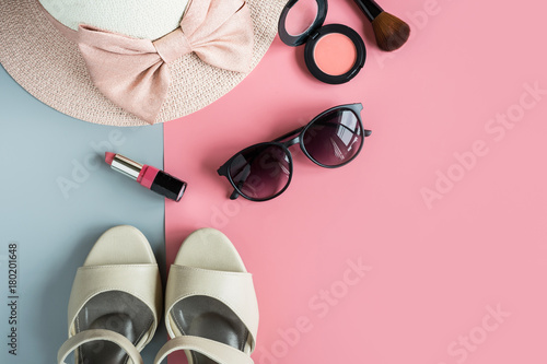 Plakat women cosmetics and fashion items with copy space