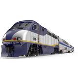 High speed passenger double deck train on white. 3D illustration