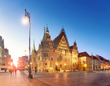 Market square and Town Hall at night, panoramic image