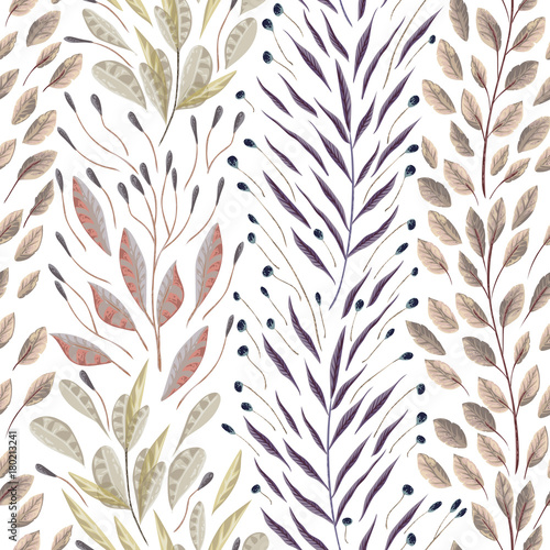 Seamless pattern with marine plants, leaves and seaweed. Hand drawn marine flora in watercolor style. Vector illustration - 180213241