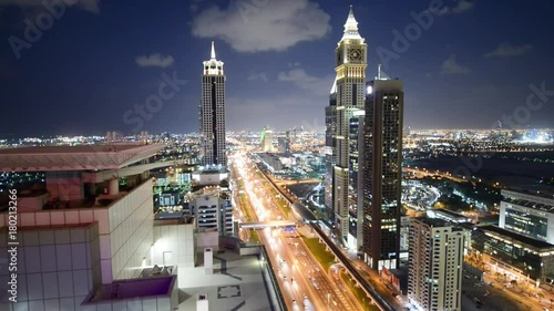 Aerial view of Sheikh Zayed road in Dubai with heavy traffic in the evening. © jovannig