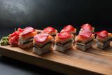 food photography art. sushi rolls assortment. japanese cuisine concept