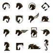 monochrome collection of horse head icons with different manes - 180216040