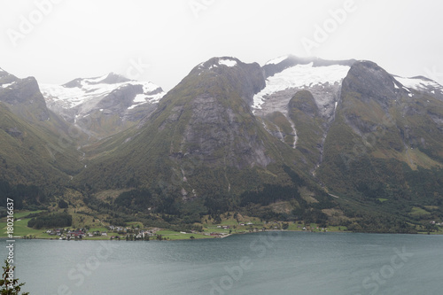 Foto op Canvas Wit Scenic view from Oppstryn, Norway